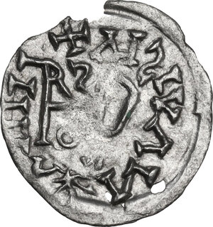 reverse: The Gepids. Uncertain king. AR Quarter Siliqua, in the name of Byzantine Emperor Justin I (517-527). Sirmium mint