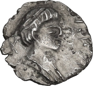 obverse: Lombardic Italy. Uncertain king (Alboin, Cleph and interregnum, c. 568-584). AR Quarter (?) Siliqua in the name of Justin II. Ravenna mint