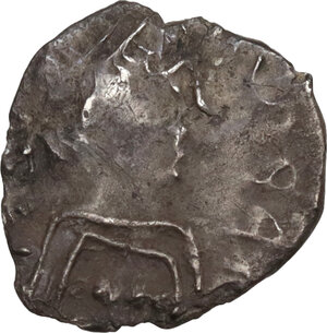 obverse: Lombardic Italy. Uncertain king (Cleph to Authari) or Interregnum (574-584 AD). AR Quarter Siliqua, struck in the name of Justin II. Uncertain Italian mint