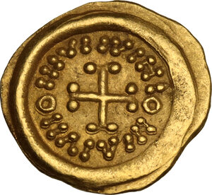 reverse: Lombardic Italy. Perctarit, second reign (672-688 AD). AV Tremissis, struck in the name of an emperor, blundered. Tuscany, uncertain mint