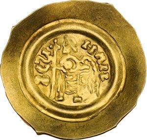 reverse: The Lombards at Pavia. Liutprand (712-744). AV Tremissis
