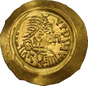 obverse: The Lombards at Pavia. Liutprand (712-744). AV Tremissis