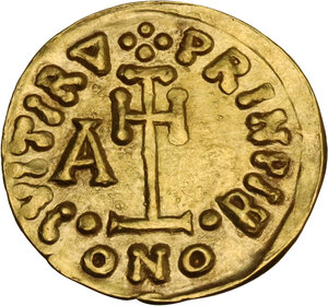 reverse: The Lombards at Beneventum. Arichis II, as Princeps (774-787). AV Tremissis