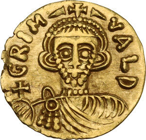 obverse: The Lombards at Beneventum. Grimoald III, with Charlemagne, king of the Franks (788-806). AV Tremissis