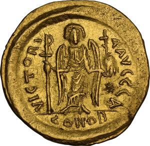 reverse: Justinian I (527-565). AV Solidus, Ravenna mint, 552-565 AD