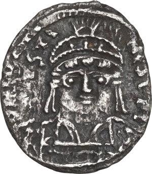 obverse: Justin II (565-578). AR Half Siliqua, Carthage mint, c. 567-574 AD