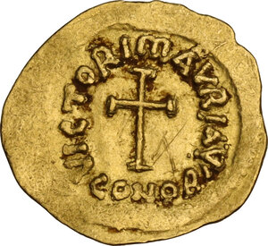 reverse: Maurice Tiberius (582-602). AV Tremissis, Constantinople mint