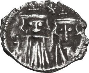 obverse: Constans II, with Constantine IV, Heraclius, and Tiberius. (641-668). AR Half Siliqua, Carthage mint, 662-668 AD