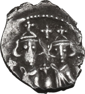 reverse: Constans II, with Constantine IV, Heraclius, and Tiberius. (641-668). AR Half Siliqua, Carthage mint, 662-668 AD
