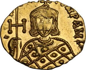 reverse: Constantine V Copronymus with Leo IV (741-775). AV Solidus, Syracuse mint