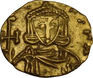 obverse: Constantine V Copronymus with Leo IV (741-775). AV Tremissis, Syracuse mint