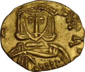 reverse: Constantine V Copronymus with Leo IV (741-775). AV Tremissis, Syracuse mint