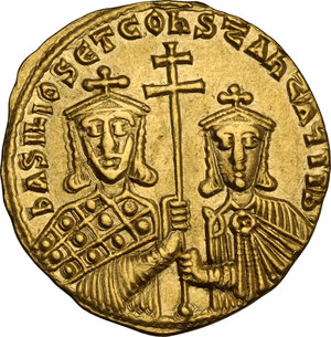 obverse: Basil I the Macedonian, with Constantine (868-879 AD). AV Solidus, Constantinople mint