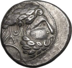 obverse: Pannonia . AR Tetradrachm, Vogelreiter type, late 3rd century BC