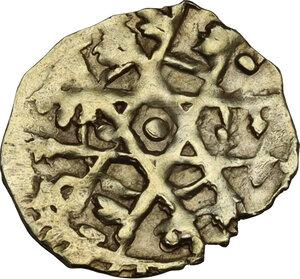 Palermo. Fatimidi, Al-Mustansir (427-487 AH/ 1036-1094 AD). Tarì o 1/4 dinar, tipo stellato