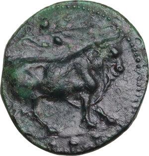 obverse: Gela. AE Tetras-Trionkion, c. 420-405 BC