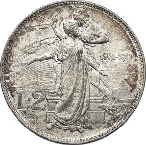 reverse: Vittorio Emanuele III (1900-1943). 2 lire 1911
