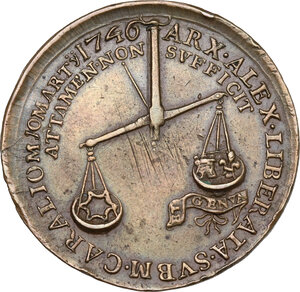 reverse: Carlo Emanuele III (1730-1773). Medaglia per la liberazione di Alessandria, 1746