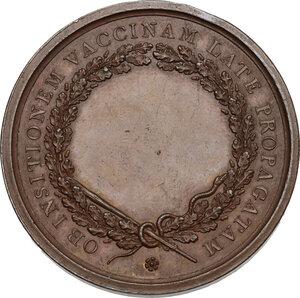 reverse: Vittorio Emanuele I (1802-1821). Medaglia s.d. emessa tra il 1819 e il 1821 per il vaccino anti-vaiolo