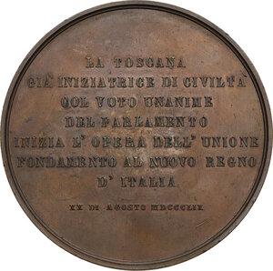 reverse: Vittorio Emanuele II (1820-1878). Medaglia 1859 per l annessione della Toscana al Regno d Italia