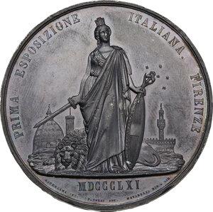 reverse: Vittorio Emanuele II (1820-1878). Medaglia 1861 per la Prima Esposizione Italia di Firenze