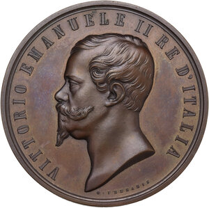 obverse: Vittorio Emanuele II (1820-1878). Medaglia al merito per l Esposizione di Firenze del 1861