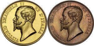 obverse: Vittorio Emanuele II (1820-1878). Coppia di medaglie s.d. dell Istituto Nazionale per le Figlie dei Militari Italiani