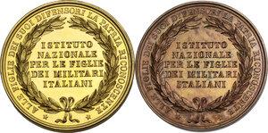 reverse: Vittorio Emanuele II (1820-1878). Coppia di medaglie s.d. dell Istituto Nazionale per le Figlie dei Militari Italiani