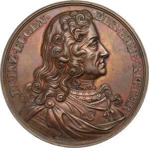 obverse: Regnando Vittorio Emanuele II (1849-1861). Eugenio (1663-1736). Medaglia 1865 per l inaugurazione del monumento equestre di Eugenio di Savoia a Vienna