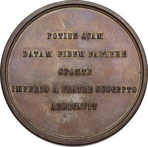 reverse: Regnando Vittorio Emanuele II (1861-1878). Vittorio Emanuele I (1802-1821). Medaglia di restituzione s.d. (1864/65) della Serie celebrativa della Real Casa Savoia