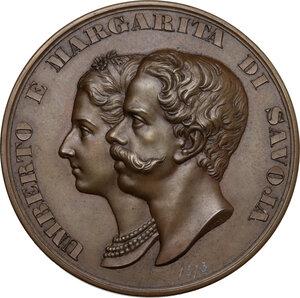 obverse: Regnando Vittorio Emanuele II (1849-1861). Umberto I (1878-1900). Medaglia 1868 per le nozze