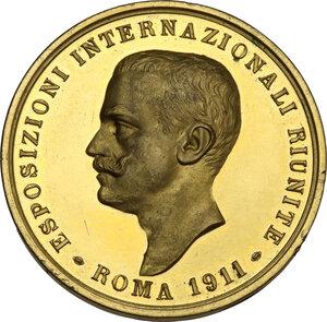 obverse: Vittorio Emanuele III (1869-1943). Medaglia 1911 in occasione delle Esposizioni Internazionali Riunite