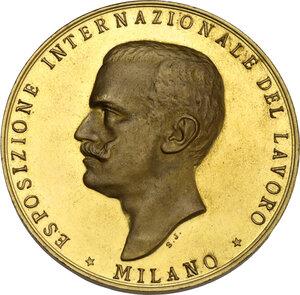 obverse: Vittorio Emanuele III (1869-1943). Medaglia premio e Croce d Onore al merito industriale. Esposizione Internazionale del Lavoro di Miano, 1917