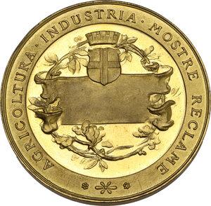 reverse: Vittorio Emanuele III (1869-1943). Medaglia premio e Croce d Onore al merito industriale. Esposizione Internazionale del Lavoro di Miano, 1917