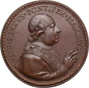 obverse: Pio VI (1775-1799), Giovanni Angelo Braschi. Medaglia 1779, per i restauri al Forte Urbano di Castelfranco Emilia