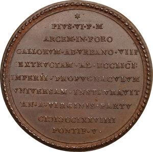 reverse: Pio VI (1775-1799), Giovanni Angelo Braschi. Medaglia 1779, per i restauri al Forte Urbano di Castelfranco Emilia