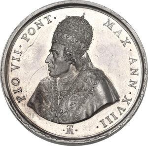 obverse: Pio VII (1800-1823), Barnaba Chiaramonti. Medaglia annuale A. XVIII, per la restituzione delle opere d arte da parte della Francia