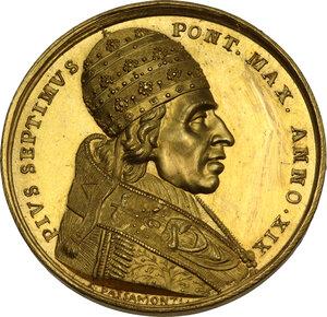 obverse: Pio VII (1800-1823), Barnaba Chiaramonti. Medaglia annuale A.XIX