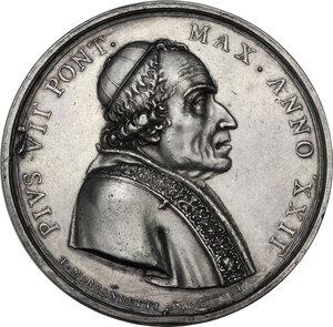 obverse: Pio VII (1800-1823), Barnaba Chiaramonti. Medaglia annuale, A. XXII