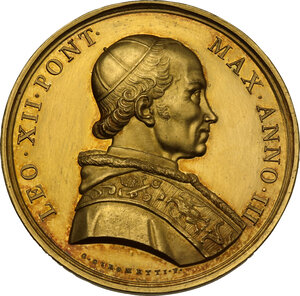 obverse: Leone XII (1823-1829). Medaglia 1825 A. III per la chiusura della porta Santa in San Pietro