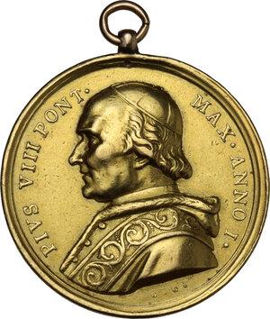 obverse: Pio VIII (1829-1830), Francesco Saverio Castiglioni. Medaglia straordinaria A. I per la Lavanda dei piedi