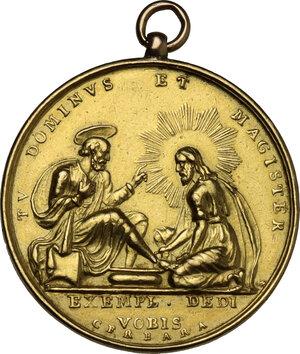 reverse: Pio VIII (1829-1830), Francesco Saverio Castiglioni. Medaglia straordinaria A. I per la Lavanda dei piedi