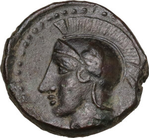 obverse: Kamarina. AE Tetras-Trionkion, c. 410-405 BC