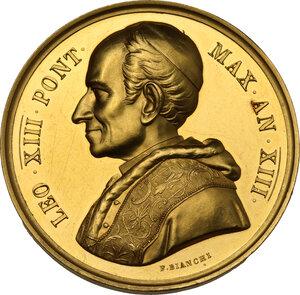 obverse: Leone XIII (1878-1903), Gioacchino Pecci. Medaglia annuale A. XIII mancanza di libertà del Ministero Apostolico