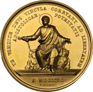 reverse: Leone XIII (1878-1903), Gioacchino Pecci. Medaglia annuale A. XIII mancanza di libertà del Ministero Apostolico