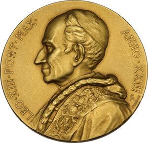 obverse: Leone XIII (1878-1903), Gioacchino Pecci. Medaglia straordinaria A.XXIII per la chiusura della Porta Santa