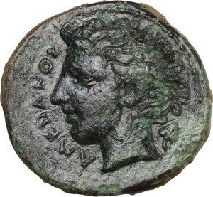 obverse: Katane. AE Tetras-Trionkion, c. 415/3-404 BC