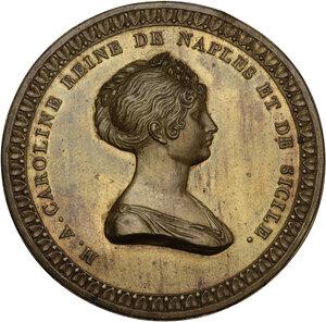 obverse: Maria Assunta Carolina Regina di Napoli e di Sicilia (1768-1814). Medaglia uniface in lamina, realizzata nel 1808 come probabile prova di medaglia eseguita in Francia