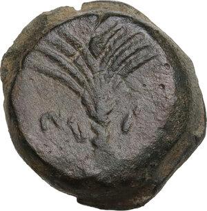 reverse: Motya. AE Tetras, c. 415/10-397 BC