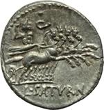 reverse:  Lucius Appuleius Saturninus. Denario, 104 a.C.